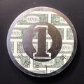 One yen coin on the dollars_φ33,3cm_麻紙、1ドル紙幣、金属箔_2019