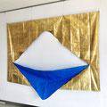 Blue&Gold_170.0×250.0cm_ブルーシート、金属箔_2018