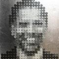352円の大統領_53.0×45.5cm_麻紙 アルミ箔 鉛筆 一円硬貨/フロッタージュ_2017