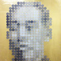 Face of money -Yukichi-(353円の男)_53.0×45.5cm_麻紙 金属箔 鉛筆 一円硬貨/フロッタージュ_2016