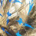Blue flower_168.0×168.0cm_ブルーシート 金属箔_2016