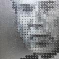 404円の大統領_53.0×45.5cm_麻紙 アルミ箔 鉛筆 一円硬貨/フロッタージュ_2017