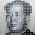Face of money -Mao-(380円の男)_53.0×45.5cm_麻紙 アルミ箔 鉛筆 一円硬貨/フロッタージュ_2016