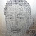 Face of money -Soseki-_145.5×112cm_麻紙 アルミ箔 鉛筆 一円硬貨/フロッタージュ_2012