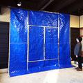 Blue space(Hachijo)_346.0×346.0cm_ブルーシート 金属箔_2018