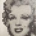 734セントの女-_65.2×53.0cm_麻紙 アルミ箔 鉛筆 一セント硬貨/フロッタージュ_2017