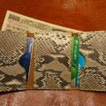 参考価格 12800- ダイヤモンドパイソン/札入れ付き3つ折りカードケース/オーダー品