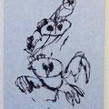 Owl game W29.7×H42cm 水性木版,揉み紙,パネル装