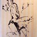 躍動する大鷲(Wooden bird 2シリーズ)W63×H93cm              水性木版,揉み紙,パネル装