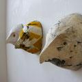 自画像 鳥人間 W18×H21.5cm 水性木版,張り子