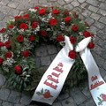 Gärtnerei Lächele: Kranz 3/4 rund: Rose Red Naomi (40), Schleierkraut (5)