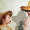 L und M mit Hut, 2006, Acryl auf Leinwand, 55 x 90 cm