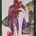 in mir, rot, 2016, Acryl und Papier auf Malplatte, 70 x 48 cm