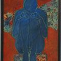 in mir, blau, 2016, Acryl und Papier auf Malplatte, 70 x 48 cm
