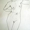Studie stehend, 2008, Graphit auf Papier, 42 x 60 cm