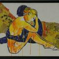 versichert, gelb, 2016, Acryl und Papier auf Malplatte, 70 x 48 cm