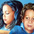 Geschwister, Acryl auf Leinwand, 100 x 60 cm