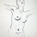 befreit, 2014, Kohle auf Papier, 42 x 60 cm