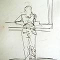 Mädchen beim Fenster, 2008, Graphit auf Papier, 42 x 60 cm