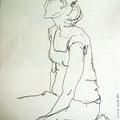 Mädchen sitzend, 2008, Graphit auf Papier, 42 x 60 cm