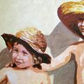 L und M mit Hut II, 2006, Acryl auf Leinwand, 55 x 90 cm