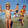 Die drei am Meer, 2009, Acryl auf Leinwand, 90 x 90 cm