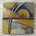 Nella luce di Palma - terracotta policroma e metallo - cm. 80x80 - 2008