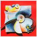 Uccello del Paradiso 2 - terracotta policroma e metallo - cm. 55x55 - 2013