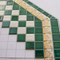 see the difference: glossy green and silk mat white tiles