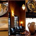 湯布院の旅館「無量塔」さんの室内。クラシックな雰囲気のなかでいただくケーキは絶品でした。