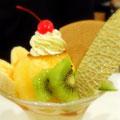 京都「イノダコーヒ」のプリンパフェ。着付け講習会の帰りに寄りました。