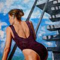 LA BAIGNADE - Acrylique sur canevas - 18x36 - 325$