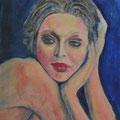 PORTRAIT DE FEMME COIGNY - Acrylique sur canevas - 16x20 - 125$