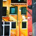 LA MAISON JAUNE VENISE - Acrylique sur canevas - 17x26 - VENDU