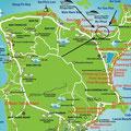 Die Karte von Koh Samui. Auf der rechten Seite sehen Sie die bekanntesten Strände Chaweng Beach und Lamai Beach