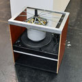 'untitled (Drunken Butterfly), turntable, cookingpot, wood, paint, aluminum, springs, microphone, 52 x 47 x 37 cm, 2011