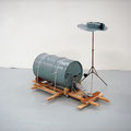 'untitled (basic drum kit)', oil barrel, musicstand, metal, varnish, wood, strechers, cable strips, 150 x 100 x 90 cm, 2006