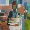 """Blaue Frau"", Acryl/Mischtechnik auf Leinwand, 60 x 50 cm"
