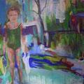 """""""Mädchen am See"""", Acryl auf Leinwand, 100 x 130 cm"""