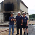 FF Gorman (left) and Asst Chief Szanto (right) with NIST team leader Madrzykowski