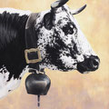 Gentiane - Acrylique sur toile - 61 x 50 cm - 2002<br><br>Peinture vache . dessin vache . vache vosgienne . toile . peinture animalière . peintre animalier . race vosgienne
