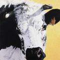 Lumière - Acrylique sur toile - 50 x 50 cm - 2005<br><br>Peinture vache . dessin vache . vache vosgienne . toile . peinture animalière . peintre animalier . race vosgienne