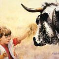 """Fanny et Tache de Lune - Acrylique sur toile pour la couverture de la brochure de """"Bienvenue à la ferme dans les Vosges"""" - 61 x 46 cm - 1996<br><br>Peinture vache . dessin vache . vache vosgienne . toile . peinture animalière . peintre animalier"""