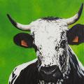 Praline - Acrylique sur toile - 60 x 60 cm - 2019<br><br>Peinture vache . vache vosgienne . toile . peinture animalière . peintre animalier . race vosgienne