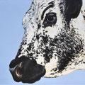 Dans l'Oeil de la Vosgienne - Acrylique sur toile - 100 x 70 cm - 2009<br><br>Peinture vache . vache vosgienne . toile . peinture animalière . peintre animalier . race vosgienne