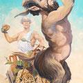 Pan et Dyonisos - Acrylique sur panneau bois - 0,60 x 1,30 m - 2008<br><br>Peinture . peintre animalier . artiste peintre . peinture animalière . animal . dieu Pan . demi dieu . mythologie grecque . fête vin
