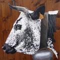Brimbelle - Acrylique sur bois - 60 x 60 cm environ - 2008<br><br>Peinture vache . dessin vache . vache vosgienne . toile . peinture animalière . peintre animalier . race vosgienne