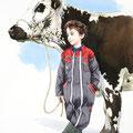 Eliot et la Vosgienne - Encre couleur et crayon noir sur papier - 50 x 70 cm - 2016<br><br>Peinture vache . vache vosgienne . dessin vache . toile . peinture animalière . peintre animalier . race vosgienne . enfant . agriculteur