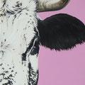 Rose malabar - Acrylique sur toile - 40 x 80 cm - 2016<br><br>Peinture vache . vache vosgienne . toile . peinture animalière . peintre animalier . race vosgienne