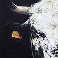 Galia - Acrylique sur toile - 38 x 55 cm  - 2016<br><br>Peinture vache . vache vosgienne . toile . peinture animalière . peintre animalier . race vosgienne